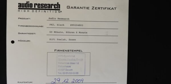 Audio Research Reference Phono 2 certificate 1