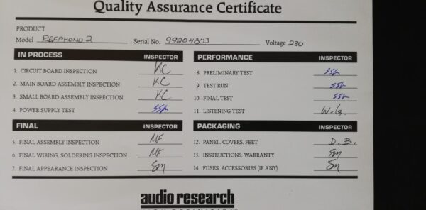 Audio Research Reference Phono 2 certificate 2