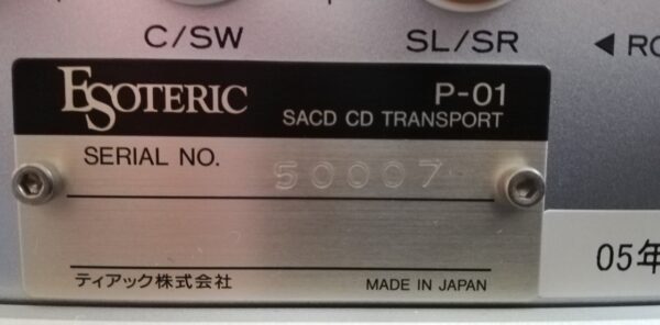 Esoteric P-01 CD Transport plaque