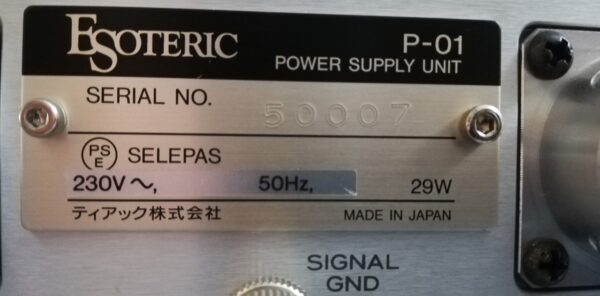 Esoteric P-01 PSU plaque
